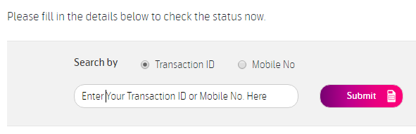 Enter Transcation ID or Mobile Number of Telenor
